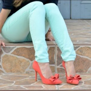 Steve Madden Ravesh Leather Heels Coral Bows 7